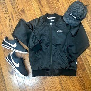 Stussy NWOT California black satin bomber jacket
